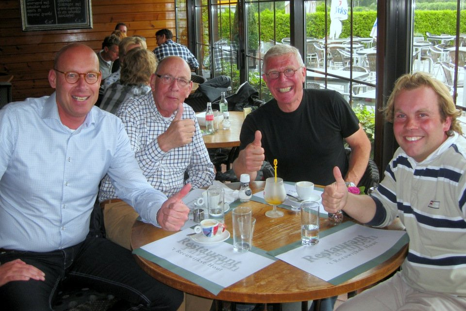 Willem de Bruin and Bas Verkerk with Hans and Evert Jan Eijerkamp